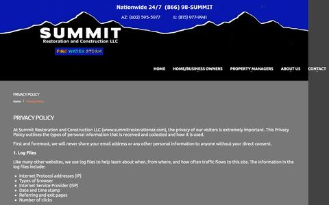 Screenshot of Privacy Page summitrestorationaz.com - Privacy Policy - Summit Restoration and ConstructionSummit Restoration and Construction - captured Feb. 10, 2016
