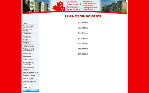 Screenshot of Press Page cfaa-fcapi.org - Canadian Federation of Apartment Associations - CFAA Media releases - captured Oct. 18, 2016