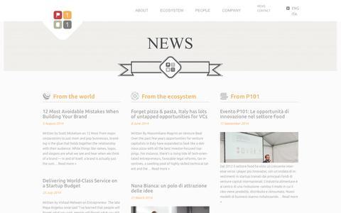 Screenshot of Press Page p101.it - News -P101 - captured Sept. 19, 2014