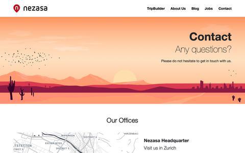 Screenshot of Contact Page nezasa.com - Contact - Nezasa AG - captured Dec. 11, 2018