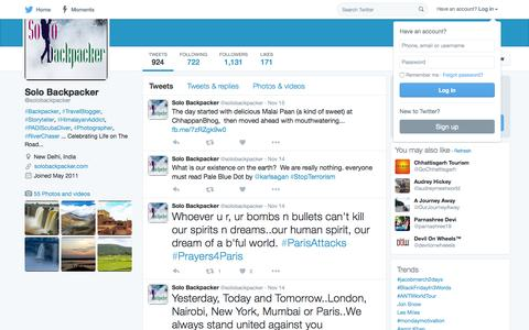 Screenshot of Twitter Page twitter.com - Solo Backpacker (@solobackpacker) | Twitter - captured Nov. 23, 2015