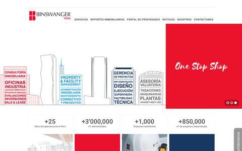 Screenshot of Home Page binswanger.com.pe - Binswanger Perú – Soluciones inmobiliarias a medida - captured Nov. 3, 2018