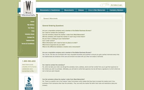 Screenshot of FAQ Page westmemorials.com - Questions about Cemetery Markers, Headstones, and Monuments from West Memorials - captured Oct. 7, 2014