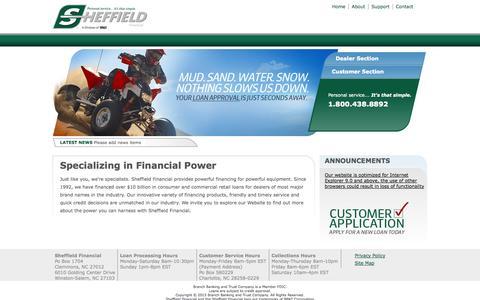 Screenshot of Home Page sheffieldfinancial.com - Sheffield Financial - Financing for snow mobiles, personal watercraft, all-terrain vehicles, lawn equipment & trailors. - captured Sept. 23, 2014