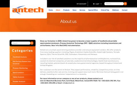 Screenshot of About Page antech.ie - About Antech | Chromatography Consumables and Instrumentation | Antech - captured Oct. 8, 2017