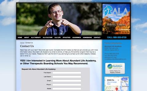 Screenshot of Contact Page abundantlifeacademy.com - Contact Abundant Life Academy - captured Sept. 30, 2014