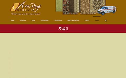 Screenshot of FAQ Page arugdirect.com - FAQ, Area Rugs Direct - captured Feb. 6, 2016