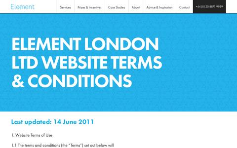Screenshot of Terms Page element-london.com - Terms & Conditions   Element - captured Dec. 5, 2015