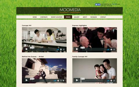 Screenshot of Menu Page moomedia.com - MOOMEDIA, SINGAPORE'S TOP WEDDING PHOTOGRAPHY & CINEMATOGRAPHY | VIDEOS - captured Sept. 20, 2018