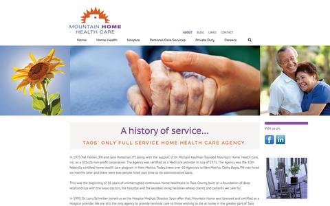 Screenshot of About Page mtnhomehealth.com - ABOUT - Mountain Home Health - captured March 12, 2016