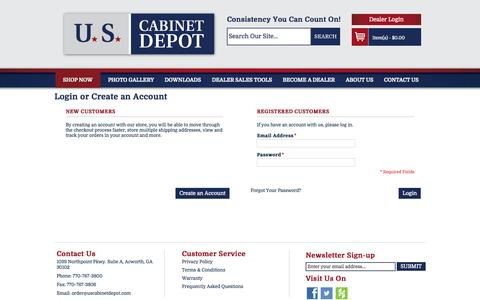 Screenshot of About Page Privacy Page FAQ Page Login Page Terms Page uscabinetdepot.com - Customer Login - captured Oct. 23, 2014