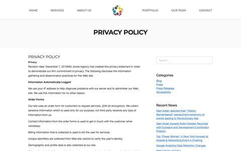 Screenshot of Privacy Page nikijones.com - Privacy Policy - Niki Jones Agency - captured Oct. 18, 2018