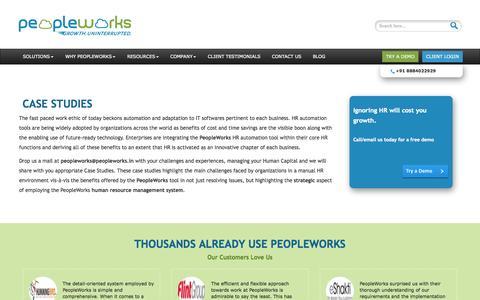 Screenshot of Case Studies Page peopleworks.in - : Case Studies | PeopleWorks - captured Oct. 2, 2014