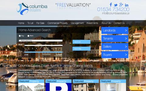 Screenshot of Home Page Site Map Page columbiaestates.je - Columbia Estates; Estate Agents in Jersey, CI. Properties To Let & For Sale - captured Sept. 23, 2014