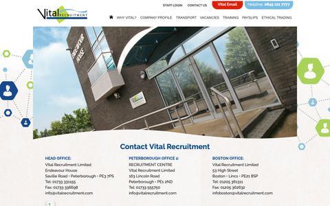 Screenshot of Contact Page vitalrecruitment.com - Contact Us   Vital Recruitment - captured Oct. 20, 2018
