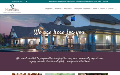 Screenshot of Home Page hopewestco.org - Home - HopeWest - captured Sept. 2, 2017