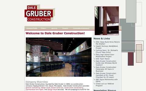 Screenshot of Home Page dalegruberconstruction.com - St. Cloud General Contractors, Dale Gruber Construction - Welcome! - captured Sept. 30, 2014