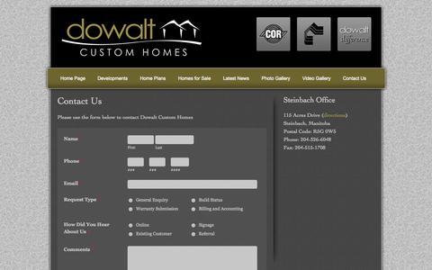 Screenshot of Contact Page dowalt.ca - Contact Dowalt Custom Homes - captured Oct. 5, 2014