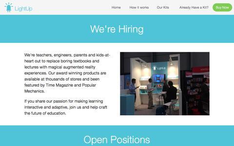 Screenshot of Jobs Page lightup.io - Jobs — LightUp - captured July 3, 2016