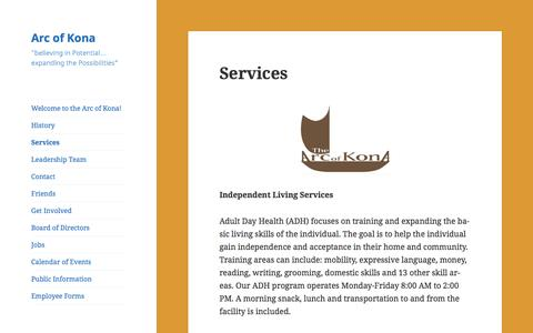 Screenshot of Services Page arcofkona.org - Services – Arc of Kona - captured July 26, 2016
