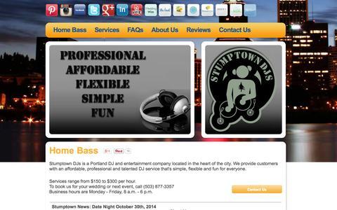 Screenshot of Home Page stumptowndjs.com - Portland DJ, Wedding Birthday Party - STUMPTOWN DJs - captured Oct. 9, 2014