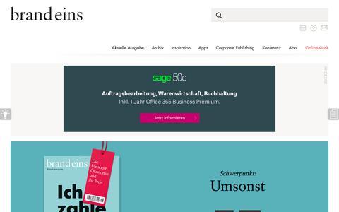 Screenshot of Home Page brandeins.de - Startseite - brand eins online - captured June 20, 2017
