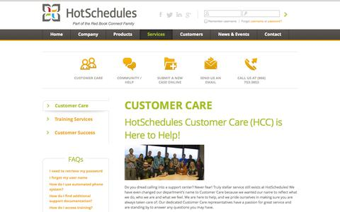 Screenshot of Services Page hotschedules.com - HotSchedules Customer Care - captured Sept. 18, 2014
