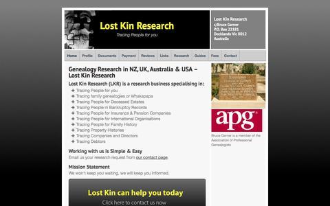Screenshot of Home Page lostkin.co.nz - Probate Genealogy Research in NZ, UK & Australia – Lost Kin Ltd - captured Sept. 9, 2017