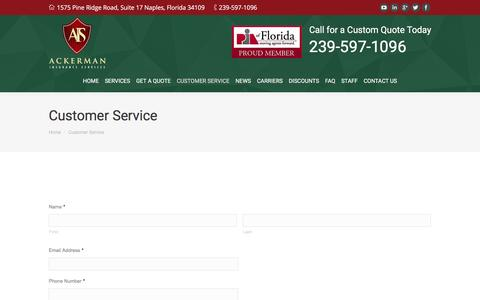Screenshot of Support Page ackerman-insurance.com - Customer Service - captured Nov. 20, 2016