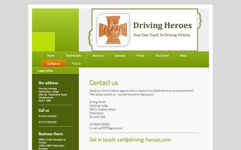 Screenshot of Contact Page driving-heroes.com - Driving Heroes - captured Sept. 30, 2014