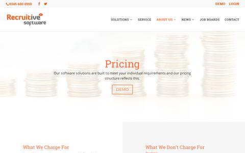 Screenshot of Pricing Page recruitive.com - PRICING - Recruitive Software - captured Sept. 20, 2018