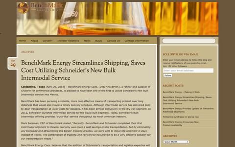 Screenshot of Press Page benchmarkenergy.com - News | BenchMark Energy Corporation - captured Oct. 5, 2014