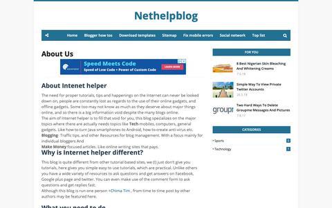 Screenshot of About Page nethelpblog.com - About Us - captured Nov. 20, 2018