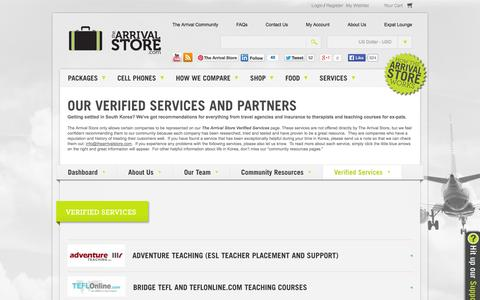 Screenshot of Services Page thearrivalstore.com - The Arrival Store | Our Verified Services and Partners - captured Sept. 22, 2014