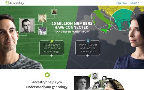 Screenshot of Home Page ancestry.com - Ancestry® | Genealogy, Family Trees & Family History Records - captured Sept. 29, 2019