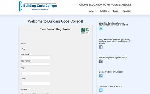 Screenshot of Signup Page buildingcodecollege.com - Registration | Building Code College - captured Sept. 30, 2014