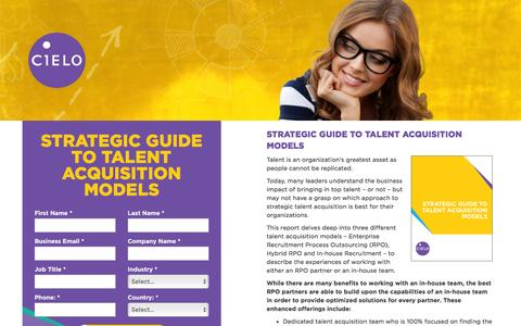 Screenshot of Landing Page cielotalent.com - Strategic Guide to Talent Acquisition Models | Cielo - captured July 2, 2016