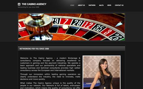 Screenshot of Home Page thecasinoagency.com - Home - The Casino Agency - captured Oct. 7, 2014
