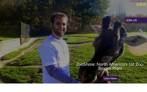 Screenshot of Home Page zooshare.ca - ZooShare |  ZooShare: North America's 1st Zoo-Biogas Plant - captured Aug. 17, 2015