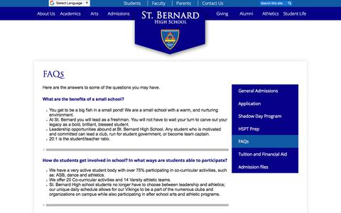 Screenshot of FAQ Page stbernardhs.org - FAQs – Admissions – St. Bernard Catholic High School - captured July 1, 2018