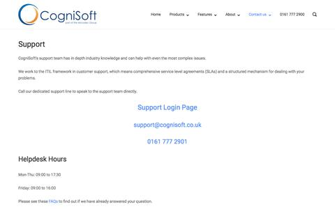 Screenshot of Support Page cognisoft.co.uk - Support - CogniSoft Limited - captured Nov. 22, 2017