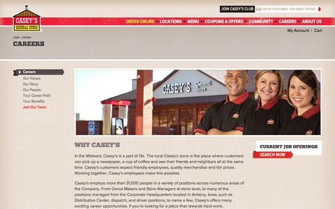 Screenshot of Jobs Page caseys.com - Careers | Casey's General Store - captured Aug. 5, 2016