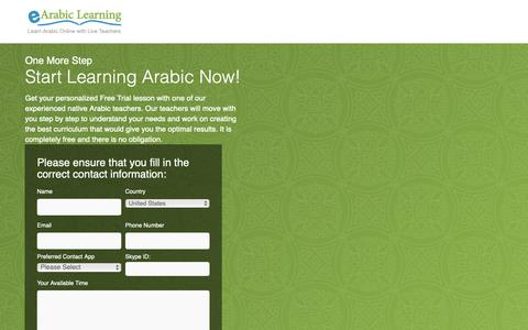 Screenshot of Trial Page earabiclearning.com - Free online Arabic lesson | eArabiclearning - captured Nov. 4, 2018