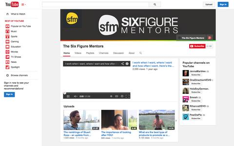 Screenshot of YouTube Page youtube.com - The Six Figure Mentors  - YouTube - captured Oct. 26, 2014