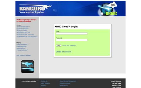 Screenshot of Login Page kanguru.com - Kanguru KRMC Cloud Login - captured Oct. 31, 2014