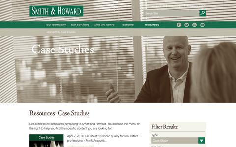 Screenshot of Case Studies Page smith-howard.com - Resources: Case Studies | Smith and Howard - captured Oct. 7, 2014
