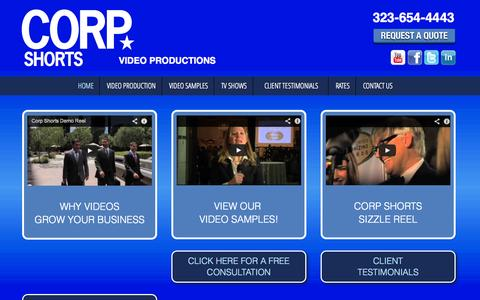 Screenshot of Home Page corpshorts.com - Corp Shorts - The Leader in Corporate Video Productions | Orange County Video Production, Corporate Video Production, Online Video Production, Corporate Video Production Los Angeles, Business Video Production, Corporate Video Productions, Internet Vi - captured Oct. 3, 2014