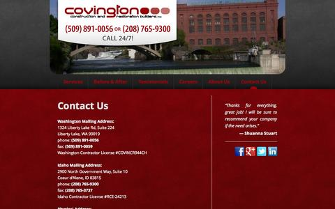Screenshot of Contact Page ccnr.biz - Contact Us | Covington Construction & Restoration - captured Oct. 27, 2014