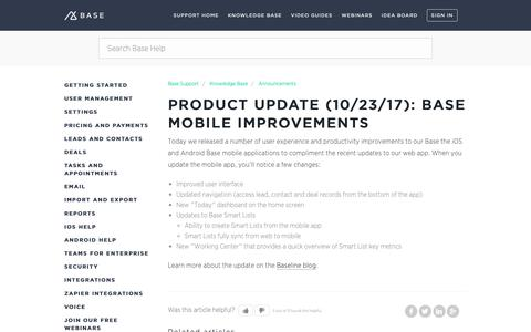 Screenshot of Support Page getbase.com - Product Update (10/23/17): Base Mobile Improvements – Base Support - captured Oct. 9, 2018