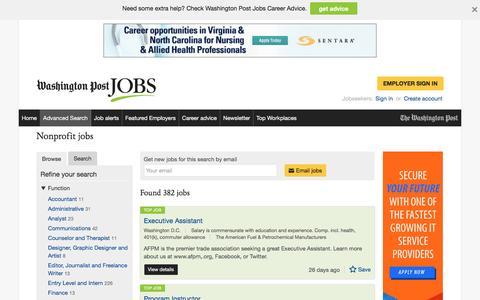 Screenshot of Jobs Page washingtonpost.com - Nonprofit jobs - captured Oct. 19, 2016